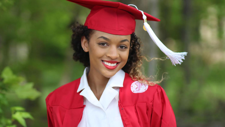 Peyton Tipton wearing her NC State undergraduate regalia