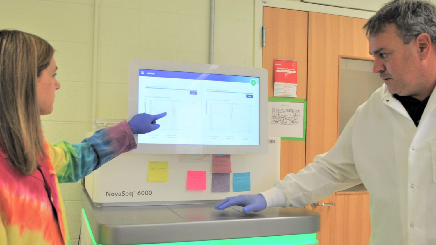 GSL Director David Baltzegar and GSL Research Specialist Kelly Sides work with the Illumina NovaSeq 6000, currently the most powerful next-generation DNA sequencer.