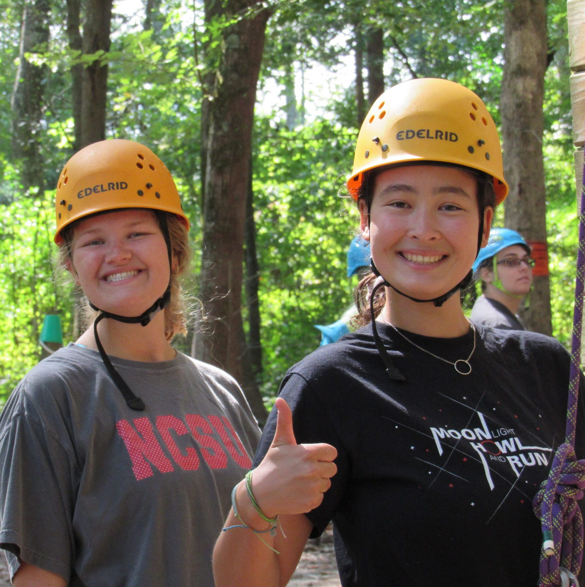 Juniors Peyton G. (dual degree in Horticulture and Communications) and Alisa Andrews (Agricultural Sciences and Science, Technology & Society) hit the rock wall and went kayaking, among other fun times at the Jefferson's fall retreat.