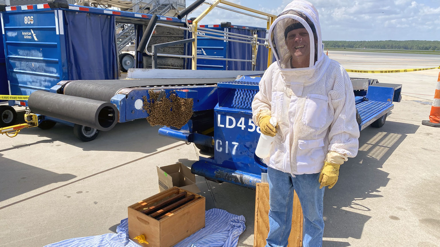 Man in protective gear near bee swarm