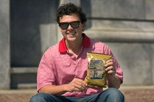 Josh with a bag of his chips