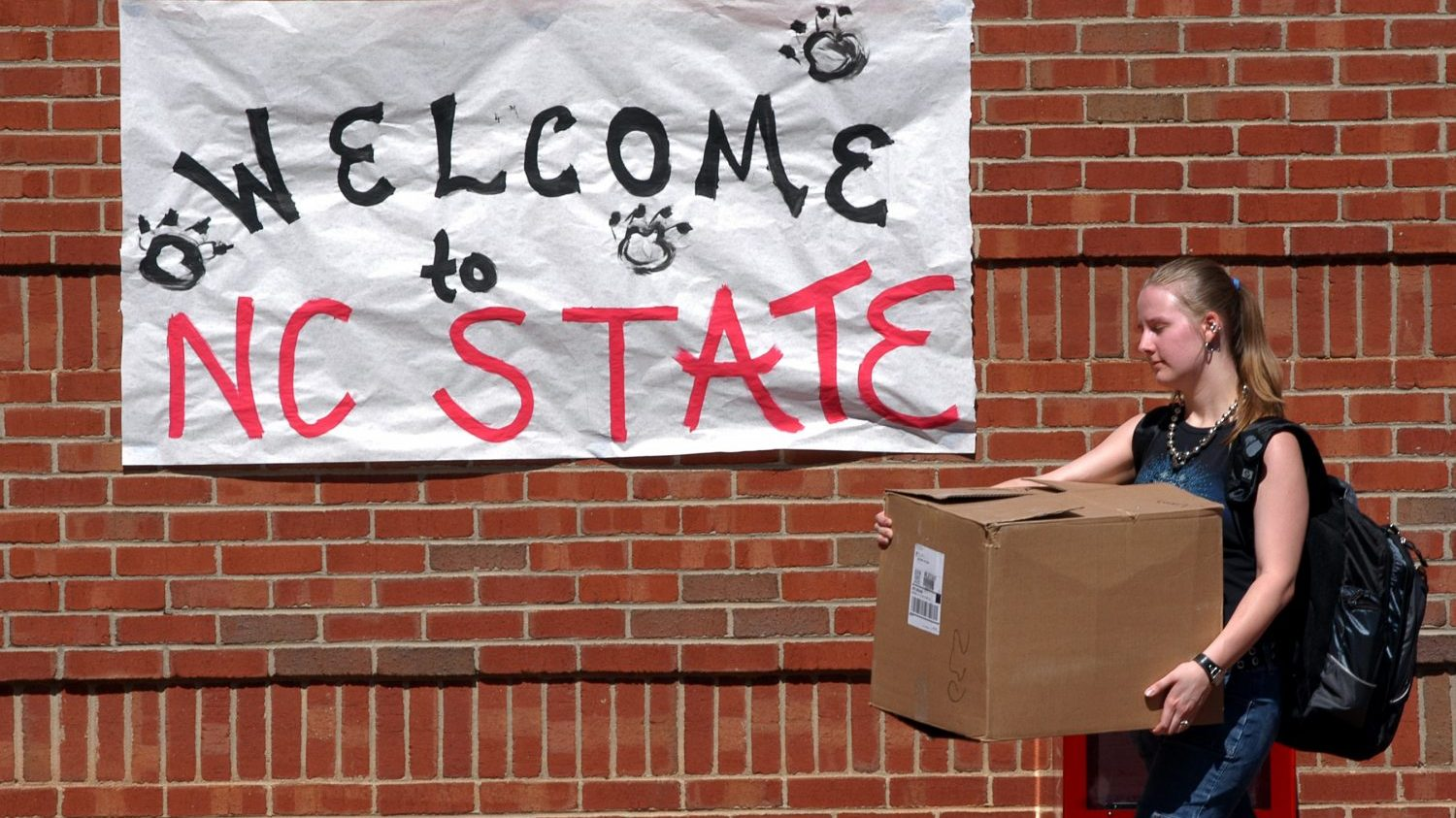 NCState student on move-in day
