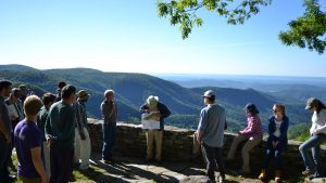 At an overlook on the Blue Ridge Parkway, Dr. Vepraskas lectures on how soils formed in the Appalachian Mountains. Photo by Adam Howard.