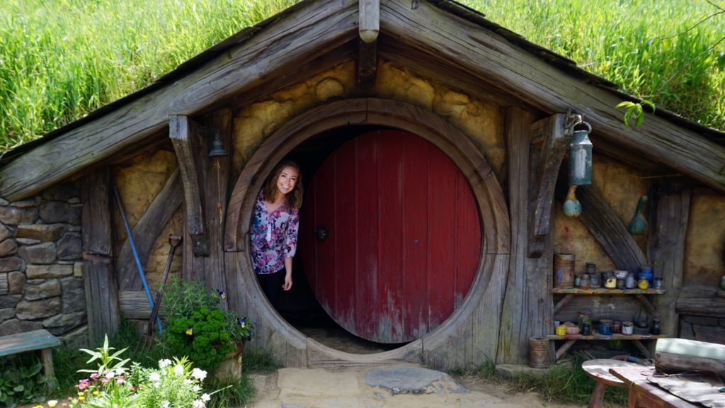CALS senior Christina Harvey in a hobbit house on a study abroad trip to New Zealand.