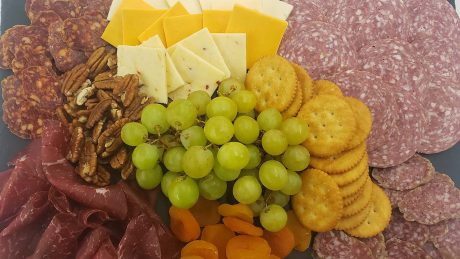 meat, cheese and vegetable platter.