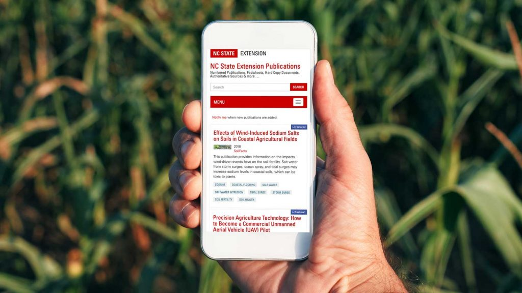 NCState Extension publications are accessible on mobile.