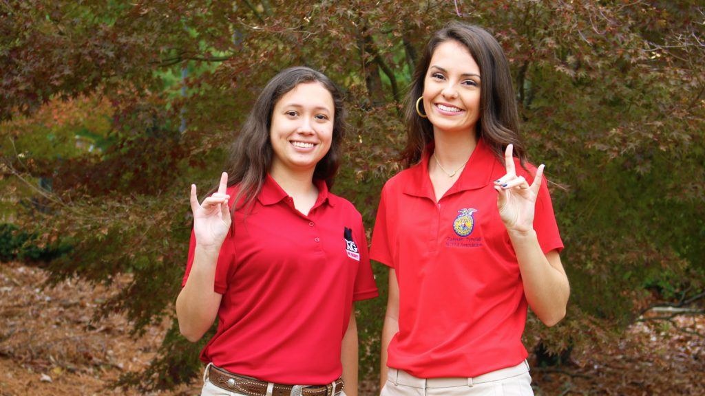 Two young female NC State students.
