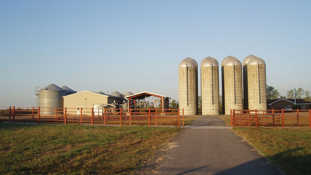 Feedmill and storage silos at Butner Beef Cattle Field Lab.